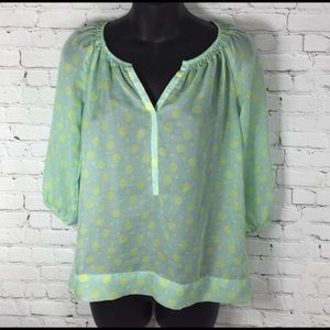 Loft Ann Taylor Petite Small Green yellow blouse